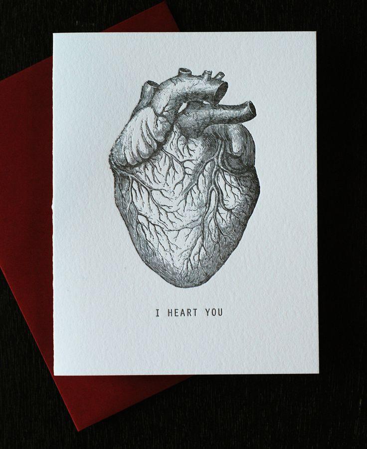 for your valentine Anatomy heart - I heart you card. $4.95, via Etsy.