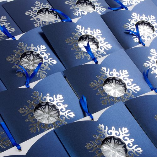 Blue Snowflake Corporate Christmas Cards UK - Snowflake on Blue - Polina Perri