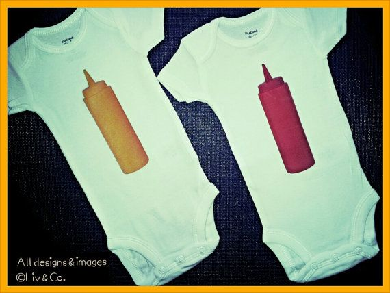 Check out this item in my Etsy shop https://www.etsy.com/listing/128455931/twins-baby-gifts-funny-twin-outfits-baby