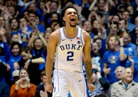 Freshman, Duke guard. Gary Trent Jr. (#2).reacts after hitting a three pointer in 2nd half of play.  Trent scored 22 points in the win.  Duke beat Notre Dame 88-66 at Cameron Indoor Stadium in Durham, N.C. Monday, January 29, 2018