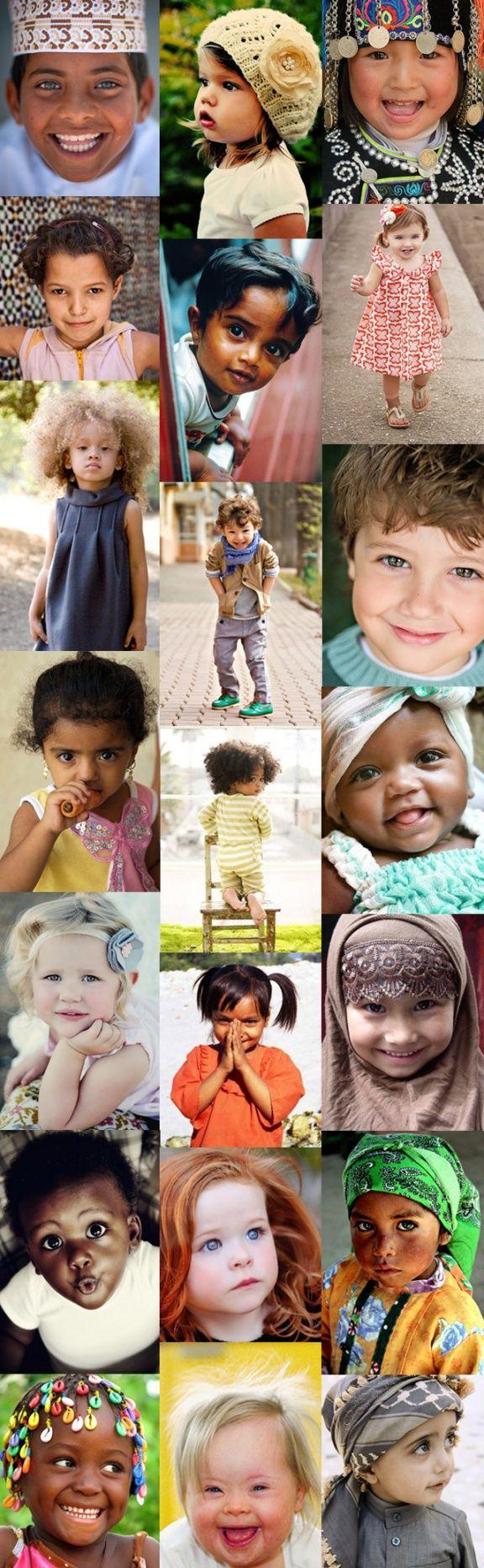 Enfants du monde, montage réalisé avec des photos trouvées sur internet.