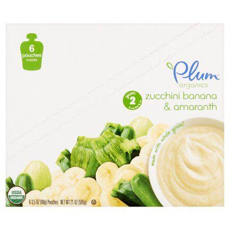 Plum Organics Stage 2 Zucchini Banana & Amaranth Organic Baby Food 6-3.5 oz. Pouches