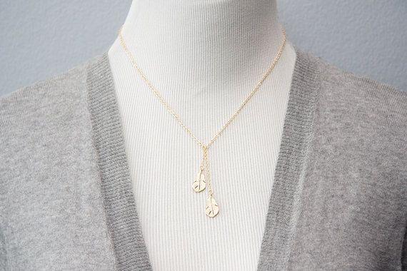 Feather Lariat Necklace Tiny Feather Charm Necklace by SilentRoses