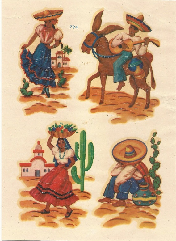 1940s Hispanic Scene Decals In Meyercord By