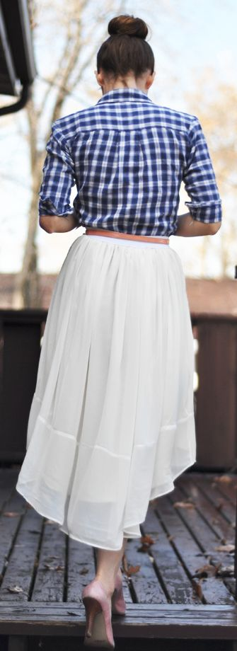 Casual outfit: blue and white gingham shirt and white skirt.