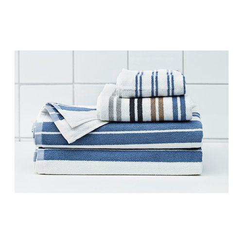 KALVSJÖN Bath sheet, white, blue white/blue 39x59