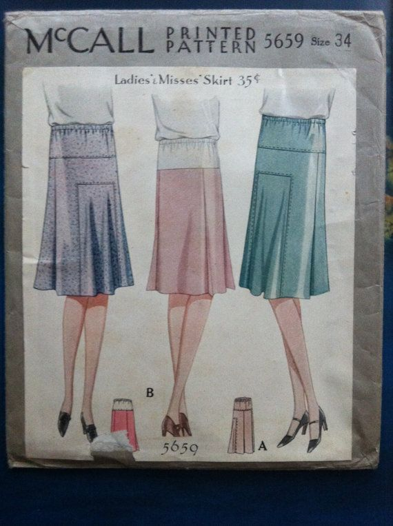 1920s 1930s vintage skirt pattern mccall 5659