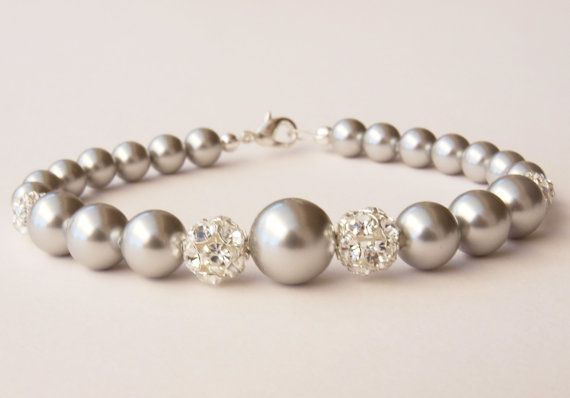 Ella Silver Pearl Bracelet Grey Bridal Jewellery Bridesmaid Thank you Gift Wedding Silver Gray Handmade Jewelry Etys UK on Etsy, $48.15