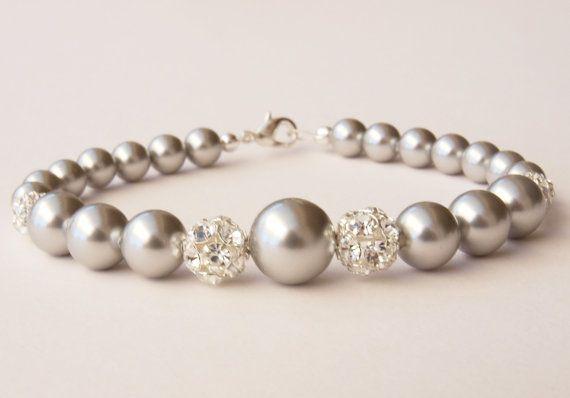 Ella Silver Pearl Bracelet Grey Bridal Jewellery Bridesmaid Thank you Gift Wedding Silver Gray Handmade Jewelry Etys UK on Etsy, $48.15