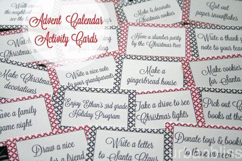 Printable DIY Advent Calendar Activities - to go along with the DIY Muffin Tin Advent Calendar!