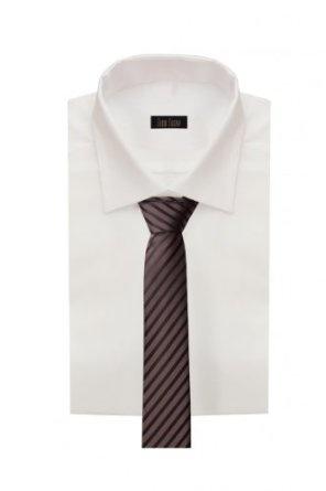 Schmale Krawatte von Fabio Farini gestreift in braun schwarz