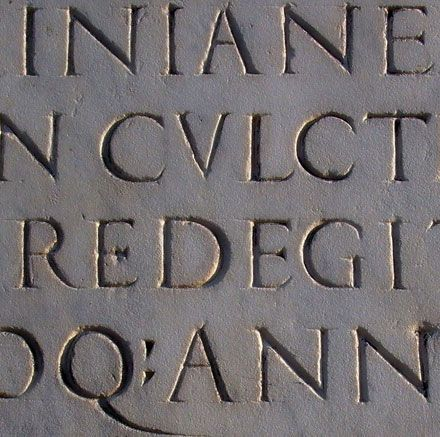77. Trajan, Carol Twombly (1989) — Carol Twombly's interpretation of the chiselled Roman inscriptions was released by Adobe, with additional figures and punctuation marks. #typography #fonts