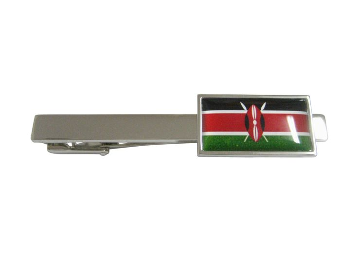 Thin Bordered Kenya Flag Pendant Square Tie Clip