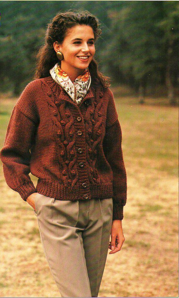 Womens Knitting Pattern Pdf Womens Chunky Cable Cardigan Ladies