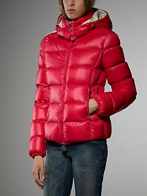 Buy Goose down jacket, soft Nylon, opaque, contrasting lining, with removable hood
