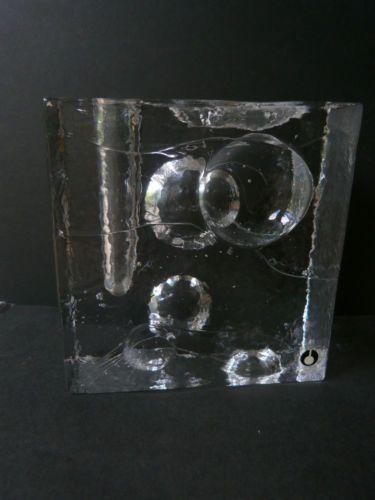 Swedish PUKEBERG Art Glass Candlestick Large Block Collectable Home Decor