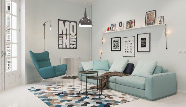 modern living room scandinavian style decor mint sofa geometric pattern carpet floating shelf