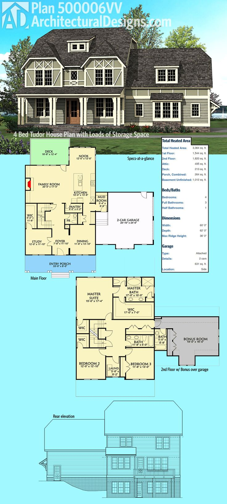 Architectural Designs Craftsman House Plan 500006VV has a sturdy front porch with stone and timbers. Inside you get 4 to 5 beds, a main floor game room and a bonus room over the garage. Over 3,200 square feet of heated living space. Ready when you are. Where do YOU want to build?