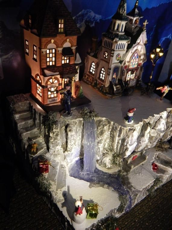 Entstehung Von Weihnachten.Waterfall Pond And Stairs Christmas Village Display Platform Etsy