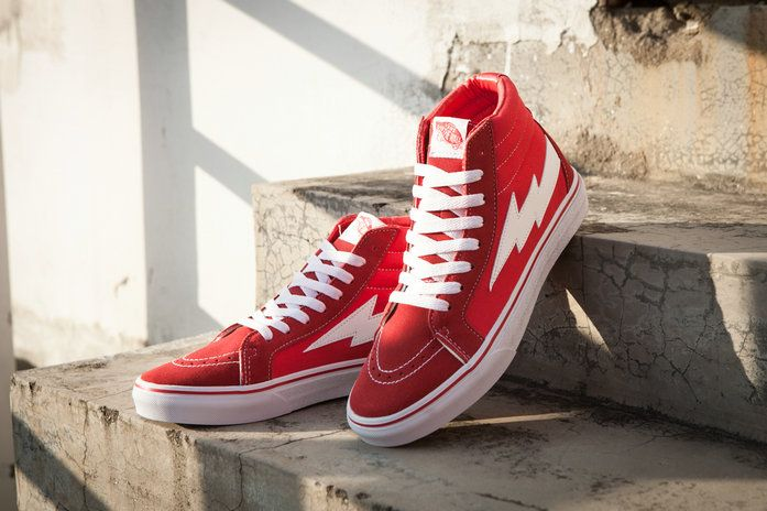 the latest 92e45 d615c Vans Revenge X Storm SK8 Hi C340 Flame Lightning Red High Top Vans For Sale   Vans