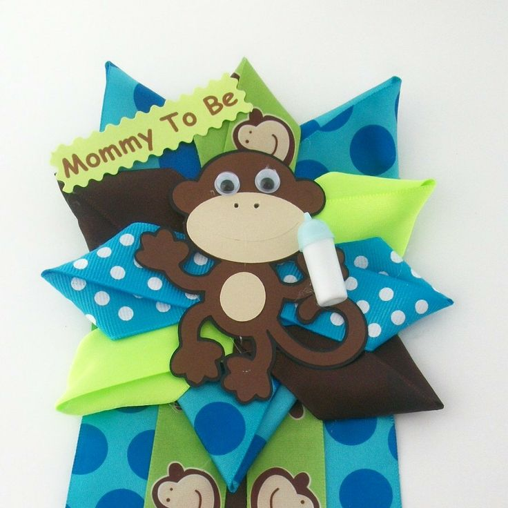 Safari Baby Shower Corsage: Monkey Corsage For Mommy To Be