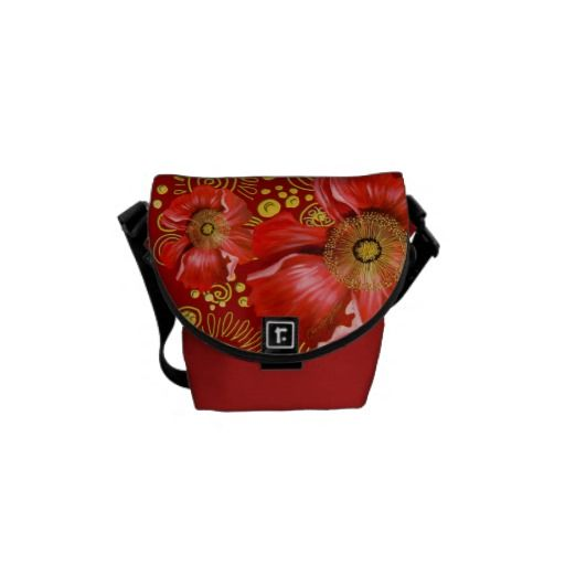 Red Poppy and Gold Spirals Courier Bags $59.95