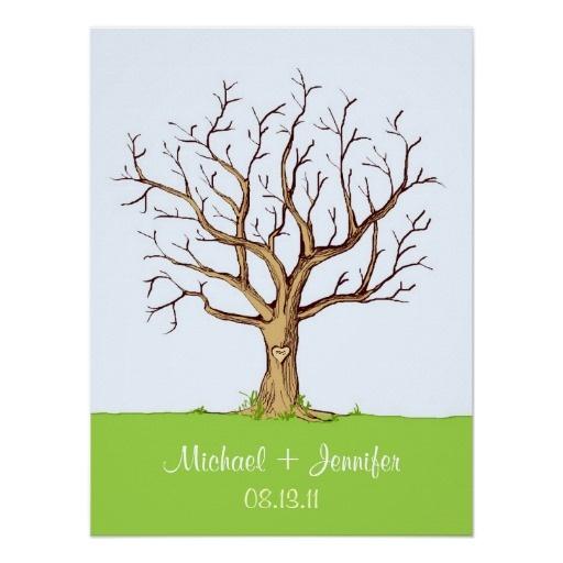 Guestbook d'arbre d'empreinte digitale de mariage affiches