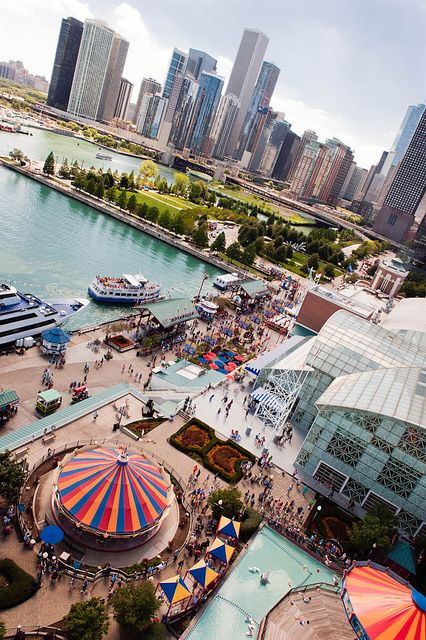 Navy Pier from atop the ferris wheel. Chicago, Illinois