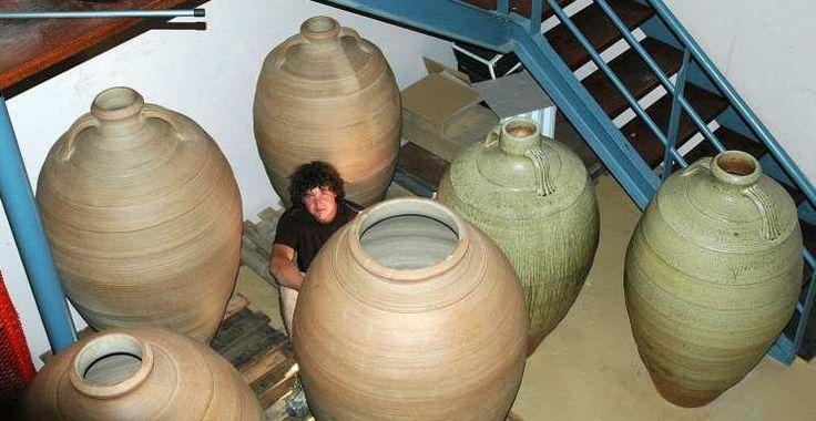 Large wine jars in winery