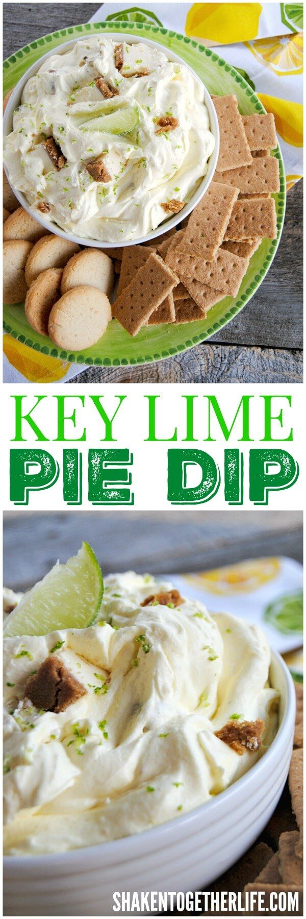 Key Lime Pie Dip - this super easy no bake dessert dip has bite sized pieces of key lime pie stirred right in! It is absolutely perfect for any party, picnic or potluck! #EasterMadeEasy #nobake #dessert ad