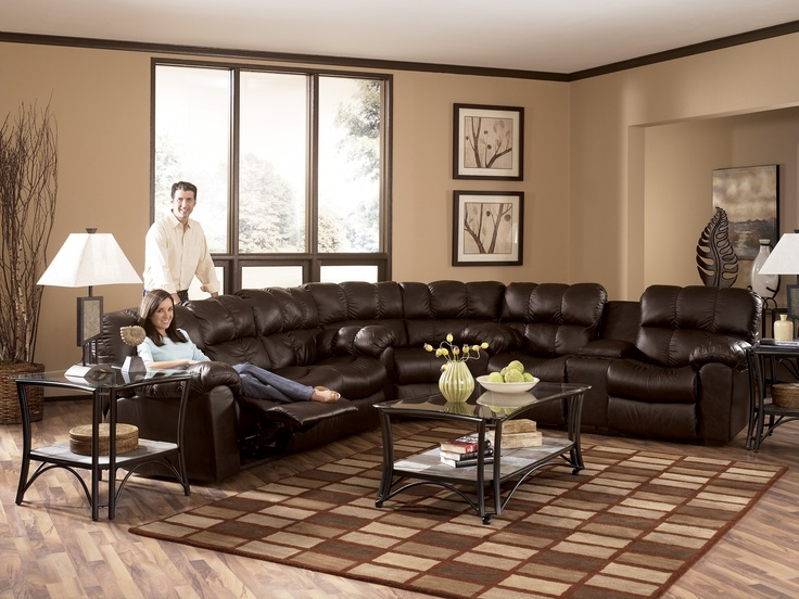 Superb Max Chocolate Sectional From Ashley Signature