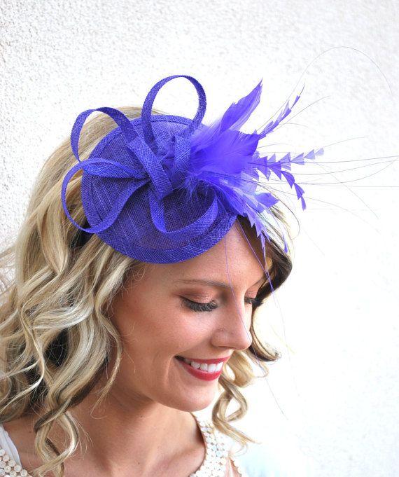 Royal Purple Fascinator Tea Party Hat Church Hat by QueenSugarBee