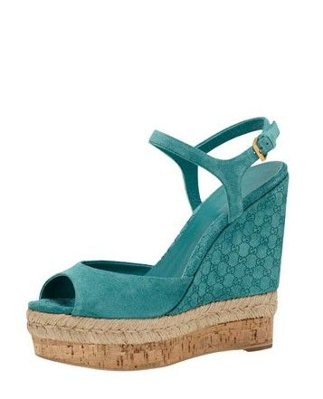 f9a10a275f7 Gucci Suede Wedge Espadrille Sandal