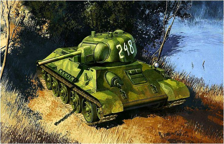 T-34/76 Modelo 1942  El modelo de 1942 es reconocible por su torre de fundición. Tiene periscopios dobles para el comandante y el cargador; éstos se introdujeron a partir del modelo 1941, pero la escasez de tiempos de guerra a menudo significaba que el periscopio del cargador se omitía. Más en www.elgrancapitan.org/foro/