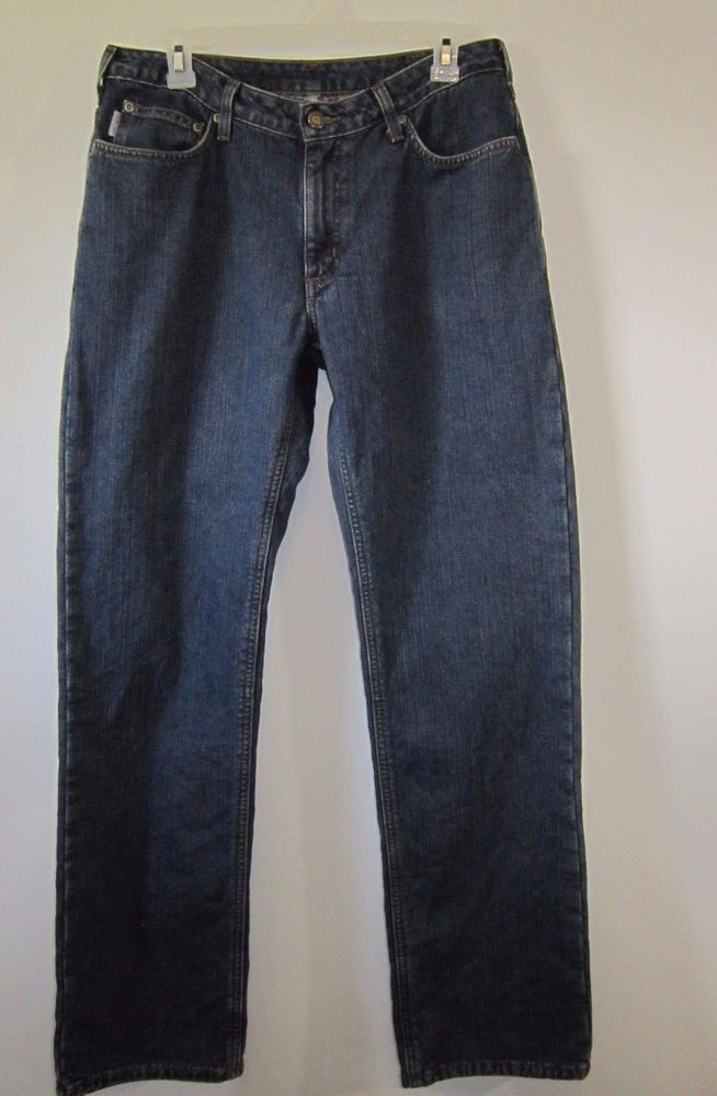 Carhartt Flannel Lined Jeans Womens Size 8 X 32 Straight Leg Relaxed Fit Jeans #Carhartt #StraightLeg