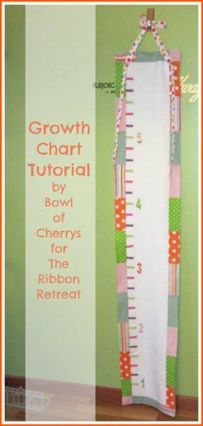 How to Make a Growth Chart out of fabric and ribbon. No matter where you go, you'll always have a record of your growing kids. :)
