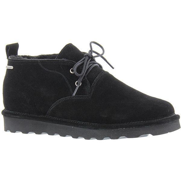 BEARPAW Spencer Men's Black Boot ($70) ❤ liked on Polyvore featuring men's fashion, men's shoes, men's boots, black, mens chukka boots, mens boots, mens black boots, mens black chukka boots and mens chukka shoes