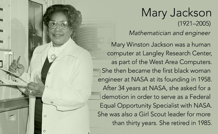 Mary Jackson(1921–2005) Mathematician and engineer  Mary Jackson was a human computer at Langley Research Center, as part of the West Area Computers. She then became the first black woman engineer at NASA at its founding in 1958. After 34 years at...