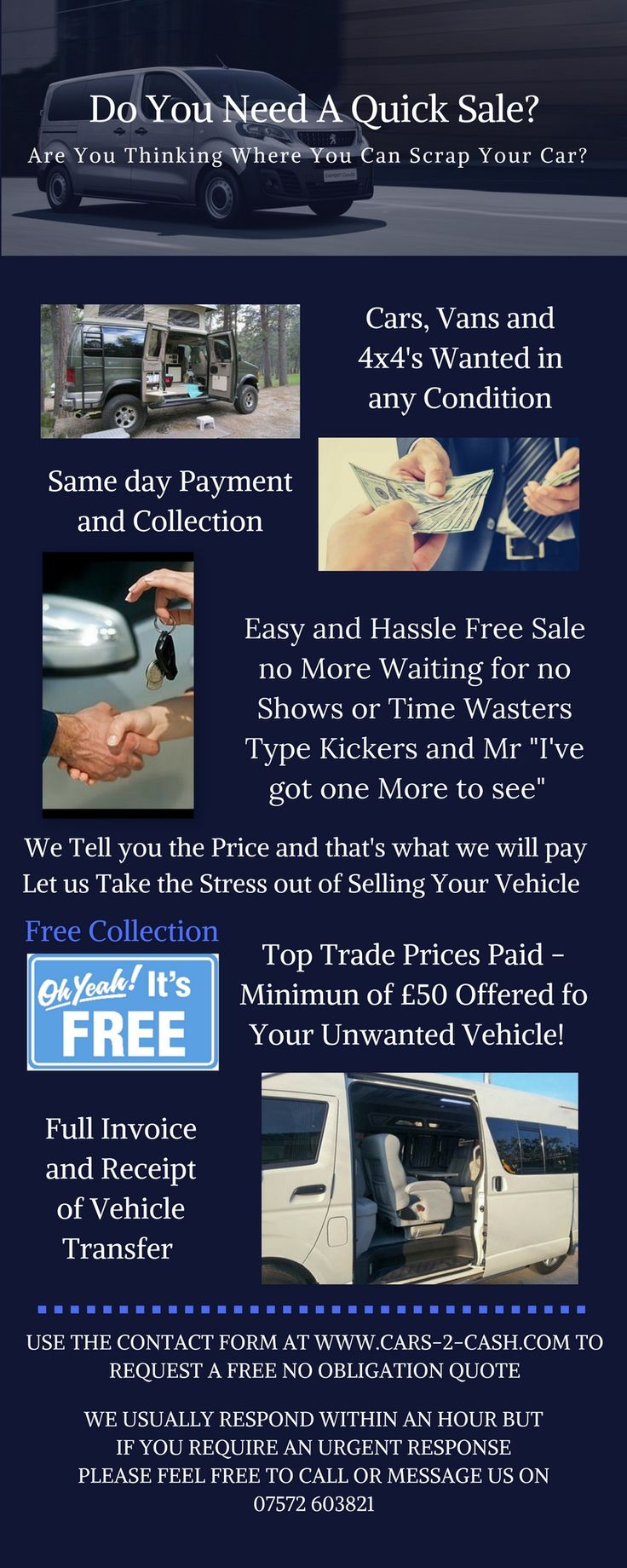 """Easy and hassle free sale, no more waiting for no shows ot time wasters, tyre kickers and Mr. """"I've got one more to see"""". Let us take the stress out of selling your vehicle."""