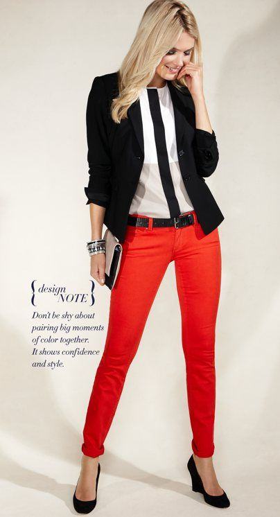 Color blocking: blazer, skinny trousers, color-blocked blouse, wedges. Ann Taylor.