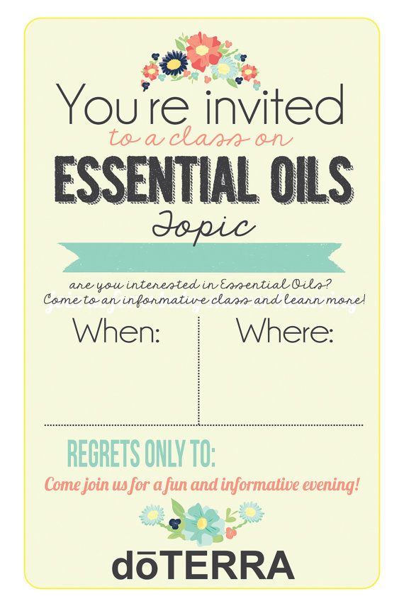 4x6 Doterra Class Invitation Instant Download Printable