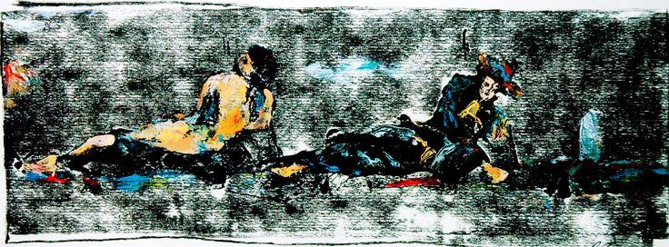 """Gabriele Camilli - Title : """"L'uomo e la morte"""" - Personal technique: Cromomonotipo su carta rosa spina  - Dimension : cm 35 x 50 - Year : 2004"""