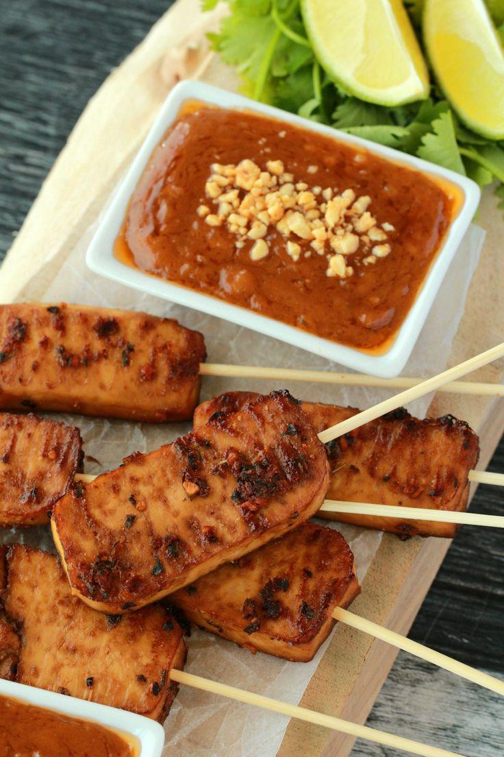 Crispy baked tofu satay served with peanut sauce