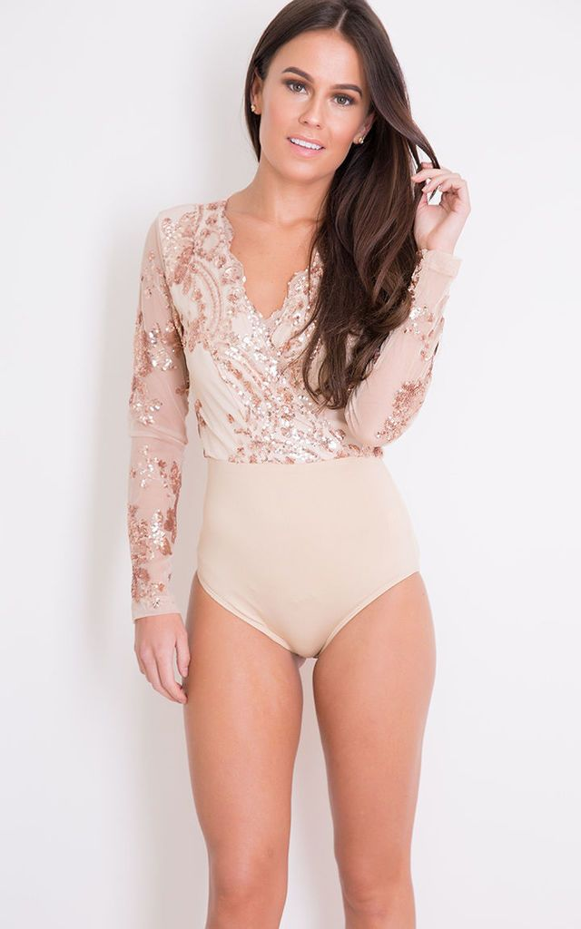 Eva Sequin Long Sleeve Bodysuit Nude   Rose Gold - SilkFred  0ce978d67