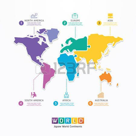 World Infographic Template jigsaw concept banner  vector illustration photo