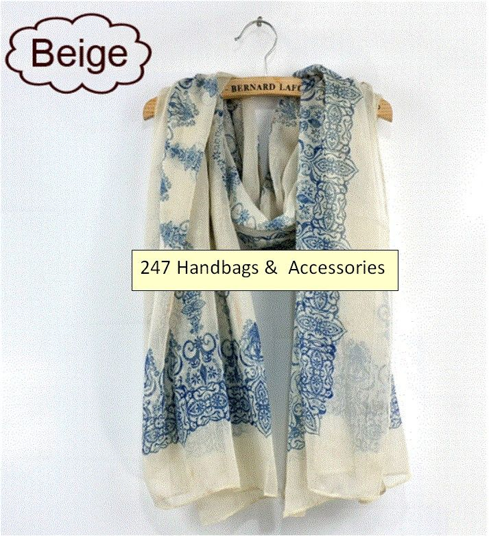 Beige Lady's Warming Print Thin Cape Scarf/Shawl/Wrap