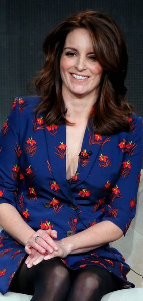 Who made  Tina Fey's blue print dress?