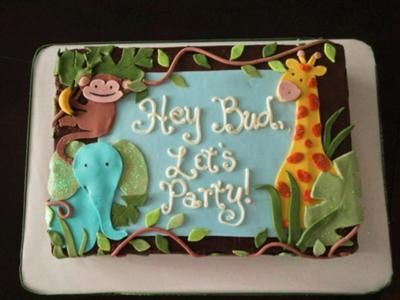 Jungle Baby Shower Cake: Jungle Baby Shower Cake  A friend of my daughter was throwing a baby shower for her sister and she wanted a cake that she felt she could deliver out of