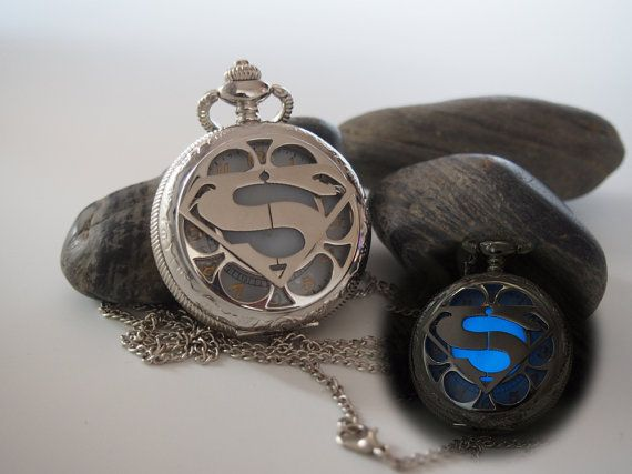 Glowing stainless steel superman pocket watch necklace, Silver steampunk pocket watch, Gift for him, Glow in the dark Jewelry    Material:
