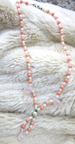 coral perle argint cuart roz